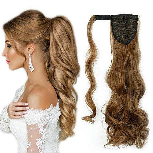Extension coda capelli fascia unica 43cm capelli finti mossi ponytail clip in hair extensions coda di cavallo - castano chiaro