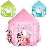 KIDUKU® Kinderspielzelt Spielschloss Prinzessinenschloss Spielzelt Bällebad Spielhöhle mit Hängenetzen, in 3 Farbvarianten (Blau)