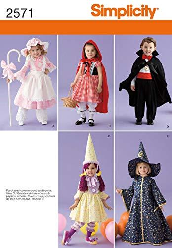 Simplicity A 1/2-1-2-3-4Schnittmuster 2571Kleinkind-Kostüme (Kostüm Little Bo Peep)