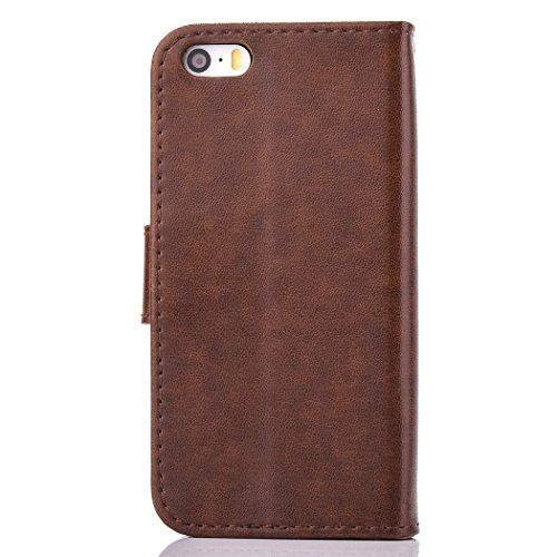 iPhone SE 5 5S Coque,Cozy Hut Coque iPhone SE 5 5S Case Housse Étui en PU Cuir Bumper Flip Cover Bookstyle Support Cartes Slots Ultra Mince Léger Fermeture Aimantée Étui iPhone SE 5 5S Coque Motif Gra brun