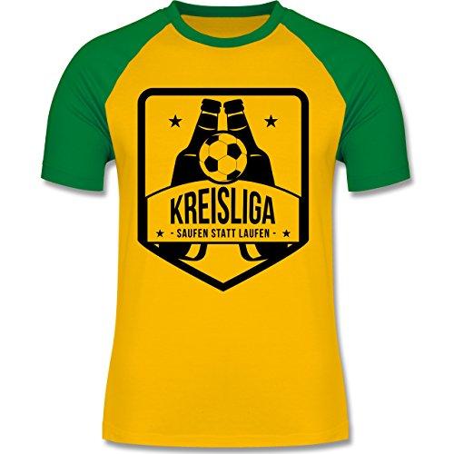 Shirtracer Fußball - Kreisliga - Saufen Statt Laufen - Herren Baseball Shirt Gelb/Grün