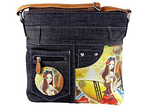 Jeans Look Umhängetasche mit aufgenähten Patches, Nieten und Print auf Kunstleder - Maße ohne Riemen 29 x 26 cm - Damen Mädchen Teenager Tasche - Jeanshosen Bund (schwarz Sonnenbrille)
