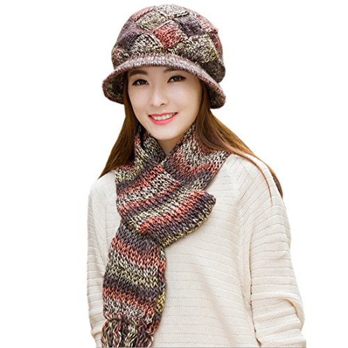 partiss femmes rembourré de laine écharpe bonnet en tricot 2pièces Marron - Café