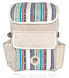 BeHemppy 100% Pure Hanf Rucksack/Tasche/Daypack mit Laptop-Hülle aus Nepal, Unisex (White Widow)
