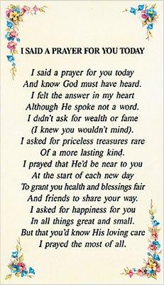 Cross Ich sagte EIN Gebet für Sie Heute Vers Gebet in Kunststoff Brieftasche 31/10,2x 12,7cm EL