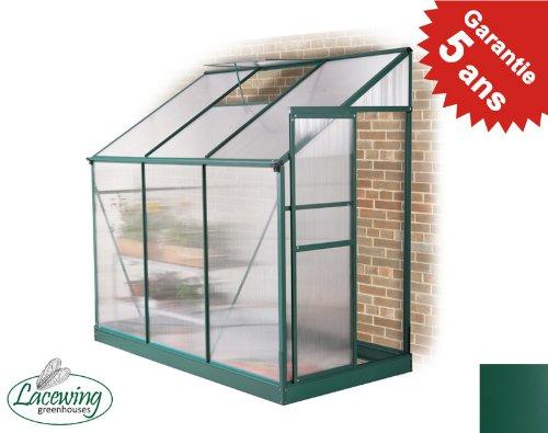 Serre Verte Adossée Lacewing Tradition 2,97 m² en Aluminium (sans embase)
