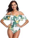 SHEKINI Damen Rüschen Gedruckt Einteiliger Badeanzug Push Up Bikini (M, Weiß)