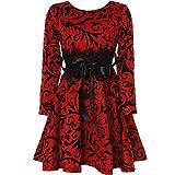 BEZLIT Mädchen Kinder Spitze Kleid Peticoat Fest Kleider Langarm 21639 Rot Größe 128