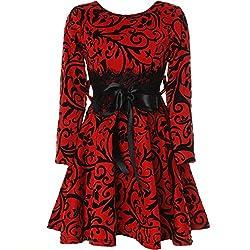 BEZLIT Mädchen Kinder Spitze Kleid Peticoat Fest Kleider Langarm 21639 Rot Größe 152