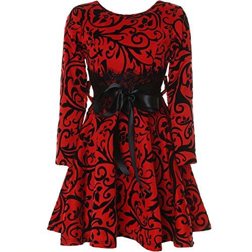 Schule Der Mädchen Kleid (BEZLIT Mädchen Kinder Spitze Kleid Peticoatkleid Festkleid Langarm 21639, Farbe:Rot,)