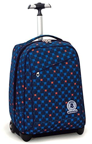 Trolley invicta , check , blu rosso , 35 lt , 2in1 zaino  con spallacci a scomparsa , scuola & viaggio