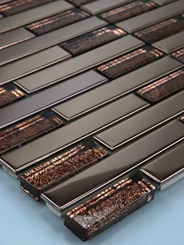 Mosaikmuster Glasmosaik Mosaikfliesen Mosaik Glas Edelstahl Braun Bronze 30x15 8mm