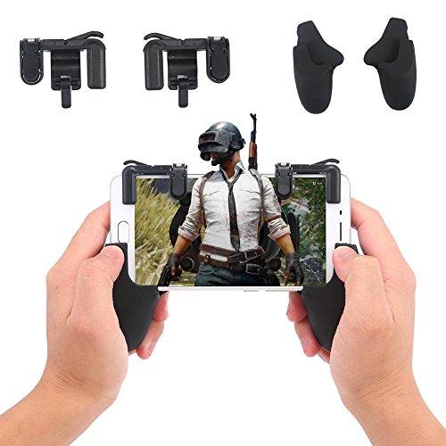 KOBWA Mobile Game Controller, Handy Spiel Trigger Joystick Sensitive Schießen und Ziel Shortcut Taste Unterstützen Android und iOS für Pubg/fortnite/Rules Of Survival(1 - Schießen, Zu Um Gewinnen