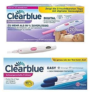 Clearblue Digitaler Ovulationstest 20 Stück Vorteilspack + 2 Clearblue Schwangerschaftstest +/- EASY mit sich färbender Testspitze