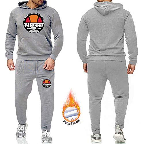 Phciy Herren Ellesse Jogging Anzug Kapuzenpullover + Lange Hosen Hip Hop Sweatshirts Trainingsanzug Hoodie Gym Jogger Anzug Casual Pullover,Grau,L