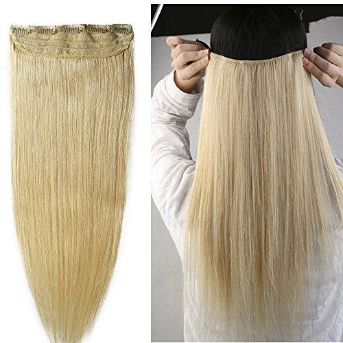 40-55cm 1pz 5 clips extension capelli veri clip biondo umani remy estensioi coda - 55cm 100g 613#bleach blonde