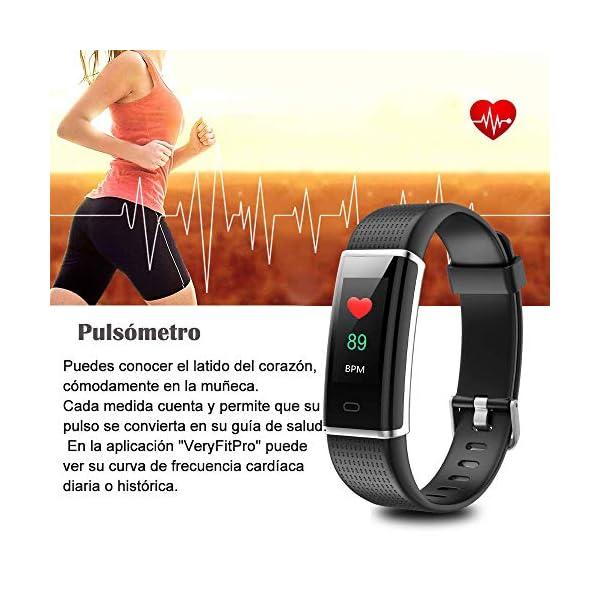 YAMAY Pulsera de Actividad Inteligente con Pulsómetro, Impermeable IP68 Smartwatch con 14 Moda Deportiva, Podómetro Pulsera Inteligente para Mujer Hombre Niño Reloj Inteligente Android y iOS Teléfono 4