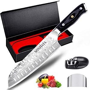 MOSFiATA Santoku Messer Kochmesser Küchenmesser Profi Chefmesser Allzweckmesser Aus Rostfreiem Stahl Sehr Scharfe Klinge mit Geschenkbox