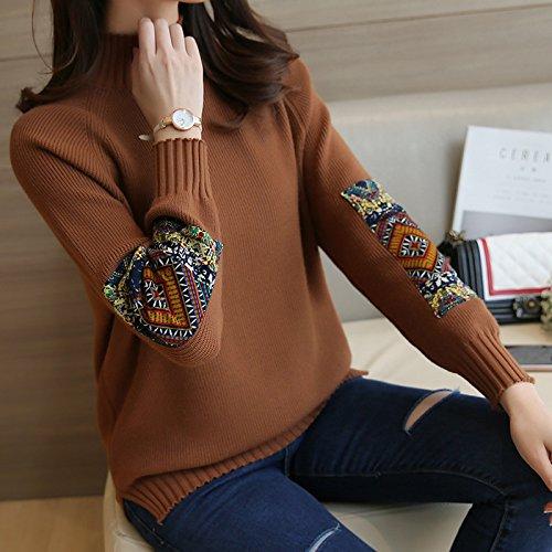 HY-Sweater Koreanische Frauen Herbst und Winter semi-high-Neck Langen ärmeln lose Pullover Split Gabel Sets, Khaki, alle Code -