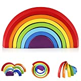 Coogam Wooden Rainbow Stacker Geometry Building Blocks Preschool Learning Toy Educational Puzzle for Kids Toddler