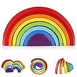 Coogam Apilador de Arco Iris de Madera Geometría Bloques de Construcción Juguete de Aprendizaje Preescolar Puzzle Educativo para Niños Pequeños