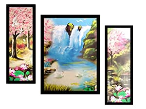 PAF written in a Frame Framed 3 Set Waterfall Painting|| Waterfall Wall Decor Painting for Living Room and Office|| Home Decor Size Size: 35 cm x 2 cm x 50 cm