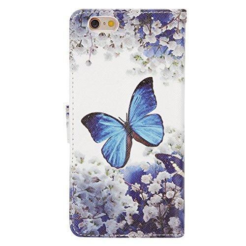 iPhone 6S Hülle,iPhone 6 Hülle,iPhone 6/6S Ledertasche Brieftasche im BookStyle,SainCat PU Leder Wallet Case Folio Schutzhülle Retro Blumenschale Muster Hülle Bumper Handytasche Skin Schale Soft Backc Blue Butterfly