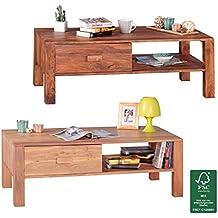 FIneBuy Couchtisch Massivholz Sheesham Design Wohnzimmer Tisch 110 X 60 Cm 1 Schublade Landhaus