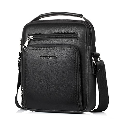 Small Leather Man Bag Mens Shoulder Bag Cross Body Messenger Bag (black)