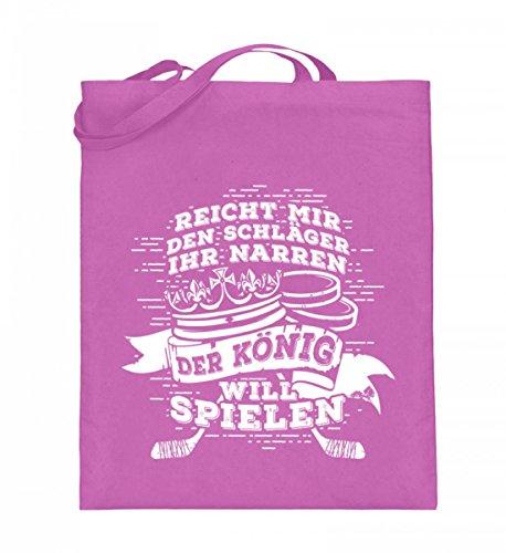 Hochwertiger Jutebeutel (mit langen Henkeln) - Eishockey: Reicht mir den Schläger ihr Narren, der König will spielen Geschenk Eishockey-Spieler Eishockey-Fan