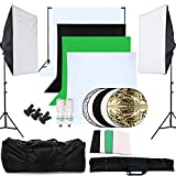 OUBO Profi Fotostudio Set 4X Hintergrundstoff (schwarz, 2x weiß, grün) Softbox...