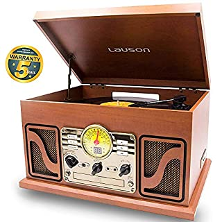 LAUSON CL606 Nostalgie Radio mit Plattenspieler | Retro Musikanlage Bluetooth | USB-Digitalisier Vinyl-to-MP3 | CD-Player | Retro Radio | 33, 45 und 78 RPM | Holz