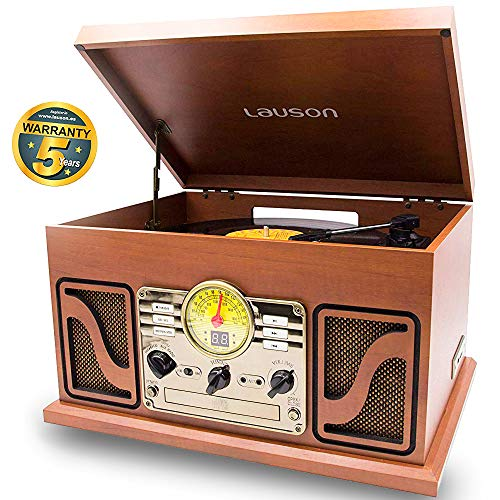 LAUSON CL606 Nostalgie Radio mit Plattenspieler | Retro Musikanlage Bluetooth | USB-Digitalisier Vinyl-to-MP3 | CD-Player | Retro Radio | 33, 45 und 78 RPM | Holz - Mp3 Radio Cd Plattenspieler