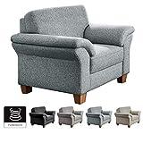 CAVADORE Sessel Byrum mit Federkern / Großer Sessel im Landhausstil / Holzfüße Buche natur / 101 x 87 x 88 / Hellgrau