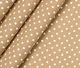 0,5m Stoff Baumwolle Pünktchen - beige