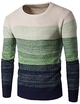 Suéter A Rayas - Jerséi De Color Degradado Con Cuello Redondo Para Hombre
