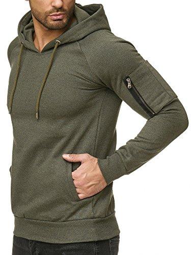 4714addd4ef9 Reslad Herren Pullover Hoodie Kapuzenpullover Longsleeve Basic Sweatshirt  Sweater RS-1039 Khaki M