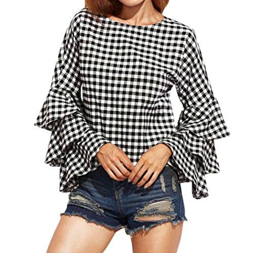 KaloryWee Women's Bell Sleeve Loose Polka Plaid Shirt Ladies Fashion Casual Blouse Tops
