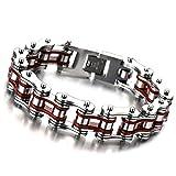 Top-Qualität Herren-Armband Fahrradkette Motorradkette aus Edelstahl Silber Rote Zwei Töne Hochglanz Poliert
