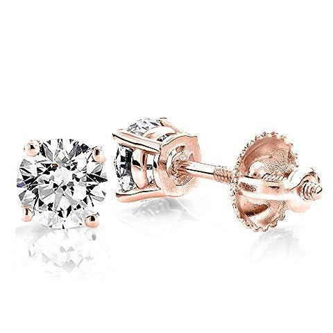 Luxurman 18k Gold Solitaire Round Diamond Stud Earrings (Rose Gold)