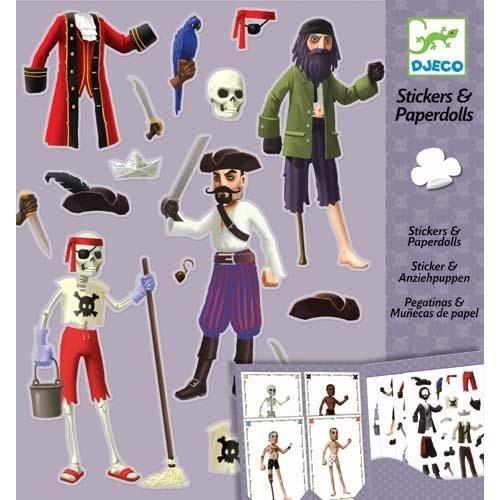 Djeco Paper Dolls & Sticker Pirates Papierpuppen (Paper Sticker Doll)