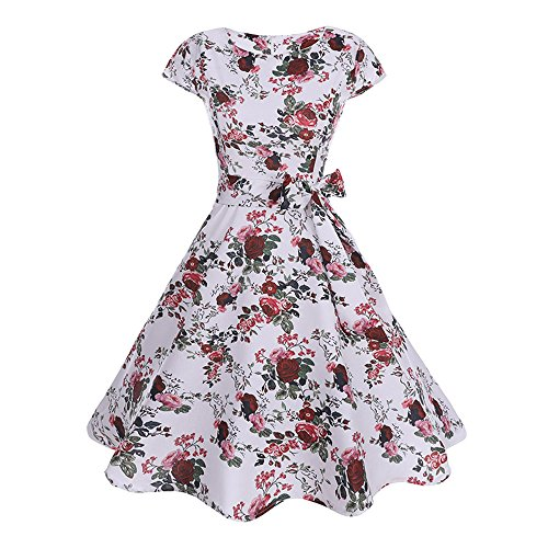 JMETRIC 60er Jahre Retro Elegantes Kleid Hepburn Stil Kleid Hohe Taille Faltenrock Blumendruck Kleid (Weiß,M)