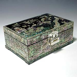 Nacre Grue Asie en bois pin verni Fait main Motif Secret avec cadenas et clé bijoux Boîte de rangement à Bijoux Coffre Trésor Étui de rangement