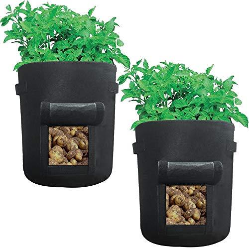 Awnic Kartoffel Pflanzsäcke aus Vliesstoff Säcke für Kartoffel Pflanzen mit Placket Atmungsaktiv Langlebig 37,8L [2er Pack] Ø35X45cm