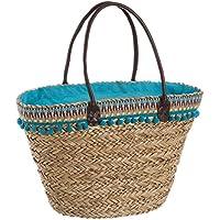 Capazo de Rafia para Playa Forrado en Azul Vintage Iris - LOLAhome