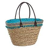 Capazo de rafia de playa forrado en azul vintage Iris - Lola Home