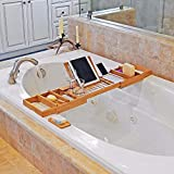 De Bain Spa Premium en bambou naturel extensible de bain Caddy, verre de vin Holder, support de (tablette, iPad, Kindle, téléphone intelligent appareil) d'une véritable expérience de spa à domicile