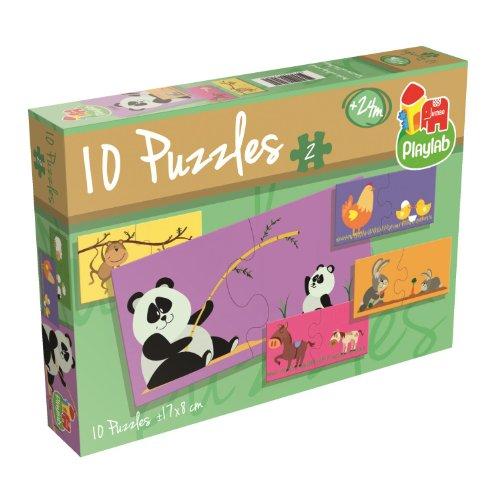 Jumbo-17495-Playlab-10-in-1-Puzzle-Tiermtter-und-kinder-10-x-2-Teile