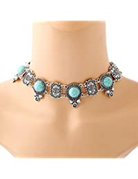 TBOP NECKLACE CHOKER THE BEST OF PLANET Simple And Stylish Jewelry Turquoise Necklace In Blue And Silver Color