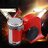YUSHHO56T Kit clacson ad aria per auto, parti esterne, fischietto, moto, auto, 12 V, 136 dB, bicolore, fischietto per camion - rosso